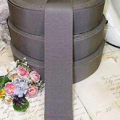 "1y 1.5"" FRENCH GUNMETAL GRAY GROSGRAIN PETERSHAM RIBBON TRIM FEDOR HATVTG ANTQ"