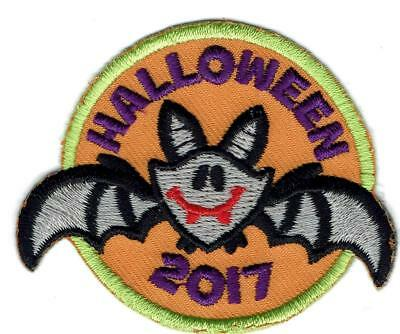 Girl Boy Cub HALLOWEEN '17 2017 Cute Bat Party Patches Crests Badge SCOUT GUIDE