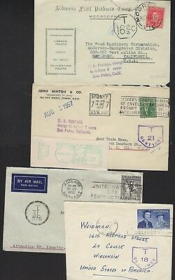 Australia 1939 52 Four Postage Due Covers W/different Marking One W/insufficentl