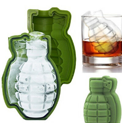 3D Green Grenade Creative Ice Cube Maker Bar Party Trays Silicone 2PCS Mold Tool