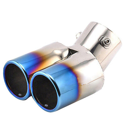 Twin Dual Exhaust Trim Tip Double Muffler Pipes Chrome Tail 60mm Universal Best