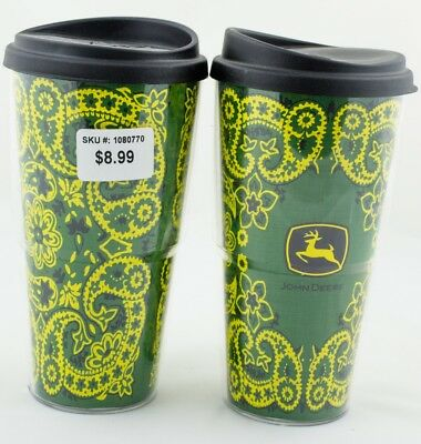 Set John Deere 16 ounce Travel Thermo Serv Cups Authentic New Cup Tractor (New)