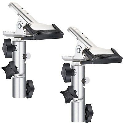 "Neewer 2-Pk Heavy Duty Metal Spring Clamp Holder with 5/8"" Stud Light Stand Arm"