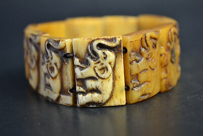 Collectible China b0ne carving chinese elephant elastic art lady bracelet