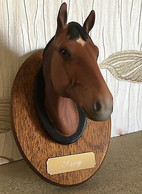 BESWICK HORSE TROY RACEHORSE HEAD MOUNT ON WOODEN PLAQUE CHAMPIONS ALL No 2699