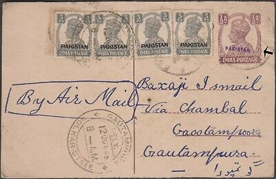 Pakistan H/s On India G Vi Postal Stationery Rare Uprated Post Card
