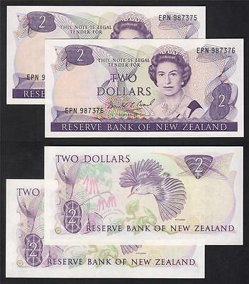 NEW ZEALAND P-170c. (1989-91) $2.. Brash - Last Prefix EPN.. CONSEC Pair..UNC