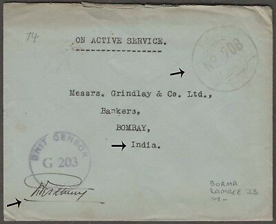 Burma 1945 Rare Fpo 208 From Ramree Islands Signed Censored To India