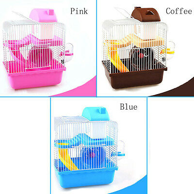 LARGE PINK/BLUE/COFFEE 2 STOREY HAMSTER CAGE HOUSE Mini ANIMAL CAGE CASTLE