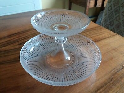 Victorian Crystal ' Greek Key ' Centre Piece - Epergne (Part)