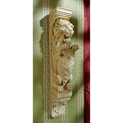 Medieval Gothic Lion with Shield Royal Beast Antique Replica Wall Sculpture  NEW
