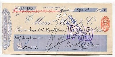 Holt & Co bank cheque - used in 1905