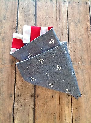NEW Men's Pocket Square Nautical Boat Anchor Stripes Reversible Handkerchief Red