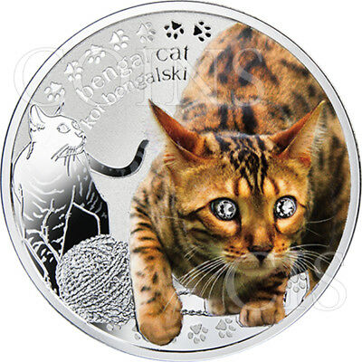 Niue 2014 1$ Mans Best Friends Cats - Bengal Proof Silver Coin with Swarovski