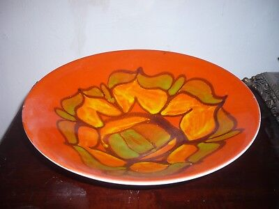 Stunning Poole Delphis orange vibrant charger/bowl 57 signed HL dolphin stamp