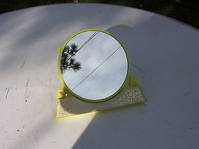 Vintage fold out vanity mirror,lime green plastic