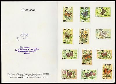 Bhutan Butterfly Rare 12 Values Imperf Proofs On Archival Signed Card