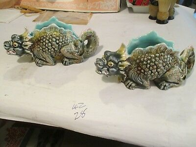 "2 MAIOLICA STYLE DRAGON VASES.3"" HIGH x 6 1/2""LONG. OPENING 1"" WIDE."