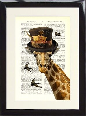 Art Print Antique Dictionary Page Vintage Steampunk Giraffe Birds Hat Animal