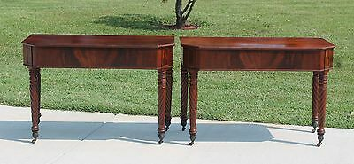 Pr 19th c Flamed Mahogany Console Tables Rope Twist Legs Acanthus Leaf  Casters