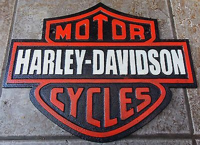 "SUPERB LARGE CAST IRON  SIGN HARLEY DAVIDSON MOTORCYCLES SIZE APPROX 13"" x 10"""