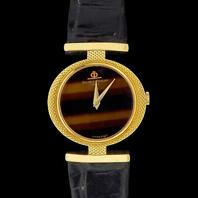1970's Vintage Baume Mercier Tiger's Eye Dial Womens 18k gold Dress Wristwatch