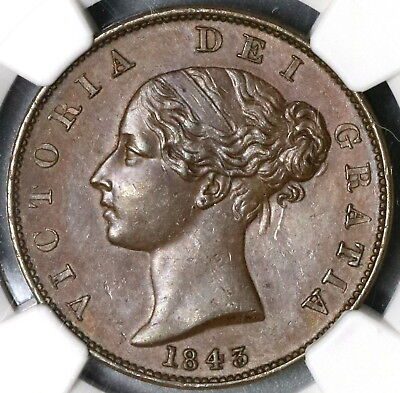 1843 NGC AU 58 Victoria 1/2 Penny Key Date GREAT BRITAIN Coin (17081201C)