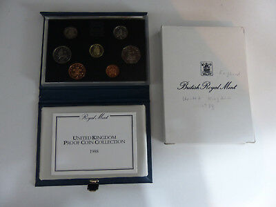 1988 Uk Proof Set Of 7 Coins - Proof Of Coin Collection