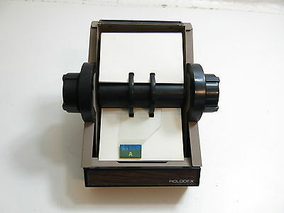 Vintage Metal Rolodex In Brown With Index Cards Model 2254D Made In Usa