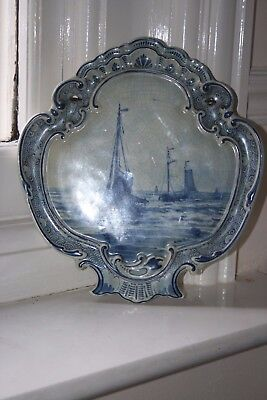 Vintage signed blue white Delft plaque Signed and stamped.