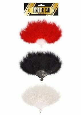 Feather Fan Fancy Dress Accessory 3 Assorted Colours Red White Black Burlesque
