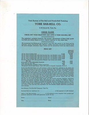 YORK BARBELL COMPANY bodybuilding muscle ORIGINAL advertisement order form