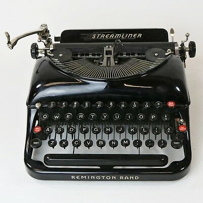 Vtg Deco Remington Rand Streamliner Glossy Black Portable Typewriter Early 1940s