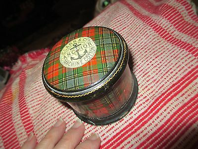 Antique MAUCHLINE WARE (?) SEWING THREAD BOX Clark Anchor sewing cotton tag
