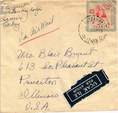 Dr Jim Stamps Turkey Olympic Games Postage Airmail Cover 1957