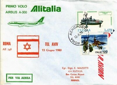 Dr Jim Stamps Italy Airmail First Flight Rome Tel Aviv Dual Franked Cover