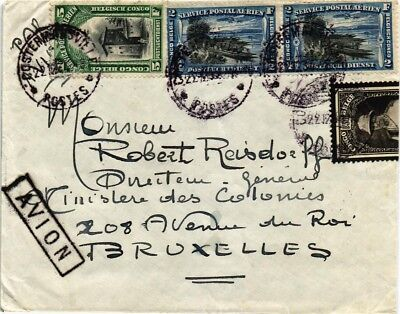Dr Jim Stamps Belgian Congo Tied Multi Franked Airmail Backstamps Cover 1934