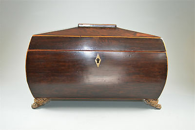 Original Regency Rosewood sarcophagus tea caddy cut glass bowl circa.1820
