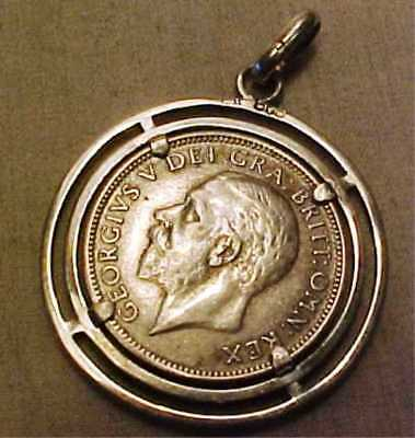 A Rare 1927 Shilling In Watch Fob Silver Chester Charles Horner Hallmarked Mount