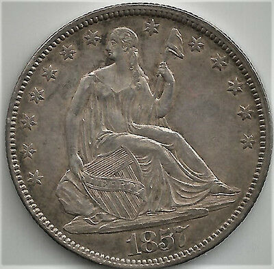 1857 Seated Liberty Half Dollar KM# A68 Great Type Coin