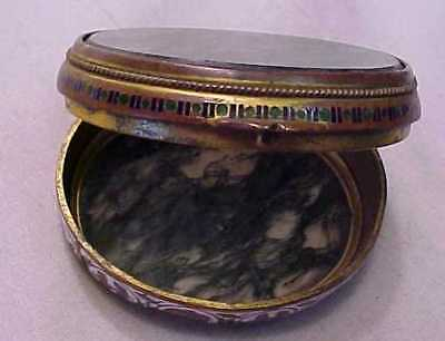 Antique Pill Or Snuff Box = Enamel & River Bed Agate High Quality Cloisonne Work