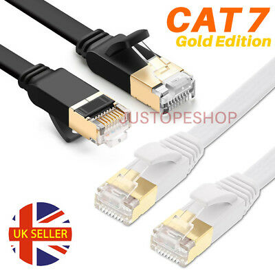 Flat RJ45 CAT7 Network Ethernet SSTP 10Gbps Gigabit Ultra-Thin Patch LAN Cable