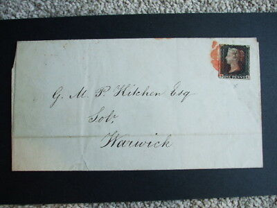 Great Britain 1840 Penny Black on Cover 3 Margins D.E Birmingham to Warwick