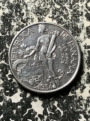 1934 Panama 1 Balboa Lot#X412 Large Silver Coin! Low Mintage! Old Cleaning