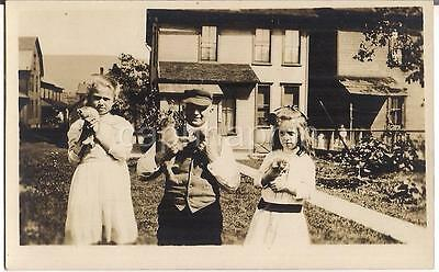 Darling Girl Kids & Dad Man Hold Newborn Kittens Cats Vtg Real Photo Postcard