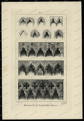 Druck-Stahlstich-Engraving-John Ruskin-Windows-Gothic-Palaces-R.P. Cuff-10