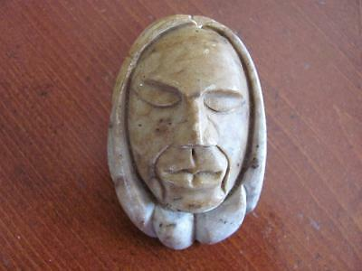 Native American Iroquois Art Hand Carved Soapstone Sculpture NEGINEDASAH Signed