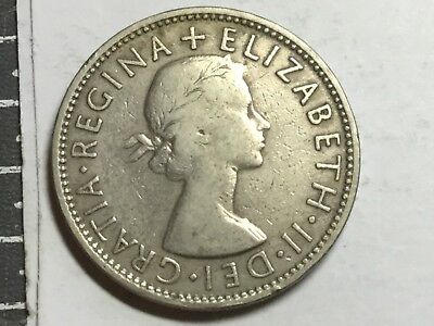 GREAT BRITAIN 1958 2 Shilling coin circulated