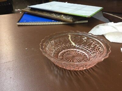Depression Glass Pink Holiday Berry Bowl