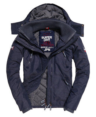 New Mens Superdry Hooded Wind Yachter Jacket Ink Marl